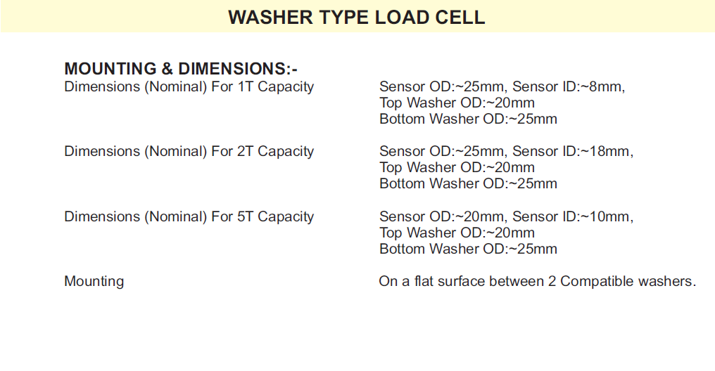 Washer type load cell dimesnions